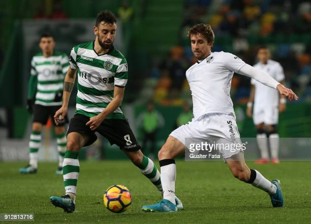 Vitoria Guimaraes midfielder Rafael Miranda from Brazil with Sporting CP midfielder Bruno Fernandes from Portugal in action during the Primeira Liga...