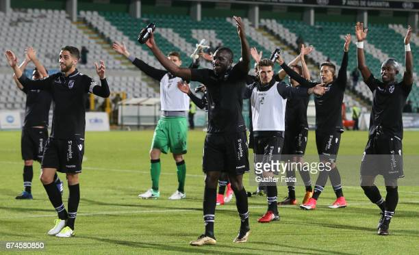 Vitoria Guimaraes' players celebrate the victory with supporters at the end of the Primeira Liga match between Vitoria Setubal and Vitoria Guimaraes...