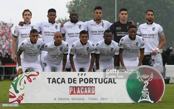 Vitoria Guimaraes' players pose for a team photo before the start of the Portuguese Cup Final match between SL Benfica and Vitoria Guimaraes at...