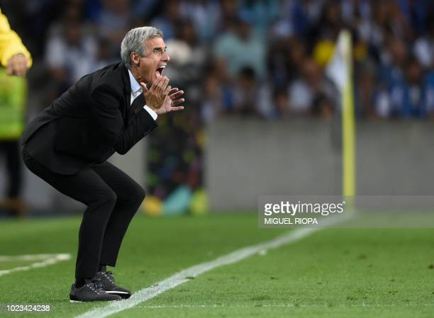 Vitoria Guimaraes' Portuguese coach Luis Castro shouts from the sideline during the Portuguese league football match between FC Porto and Vitoria...