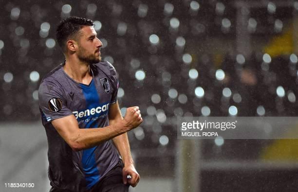 Vitoria Guimaraes' Portuguese forward Andre Pereira celebrates his goal during the UEFA Europa League Group F football match between Vitoria...