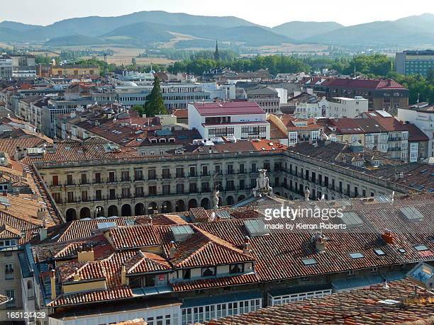 vitoria, plaza nueva from san vicente church tower - vitoria spain stock pictures, royalty-free photos & images