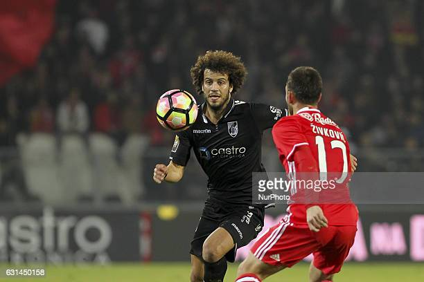 Vitoria SC's Portugues midfielder Joao Pedro with Benfica's Serbian forward Andrija Zivkovic during the League Cup 2016/17 match between Vitoria SC...