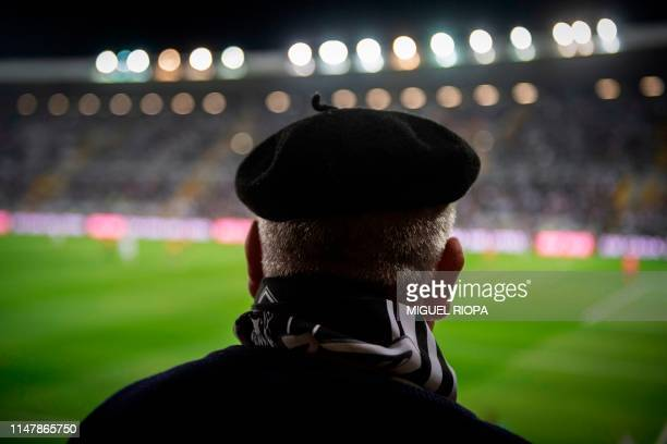 A Vitoria SC's supporter waits for the start of a football match at the Afonso Henriques Stadium in Guimaraes on May 5 2019 The small medieval city...