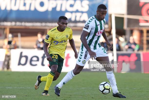 Vitoria Setubal defender Jose Semedo from Portugal with FC Pacos de Ferreira midfielder Assis from Brazil in action during the Primeira Liga match...