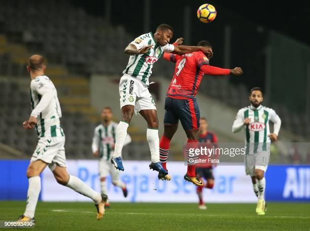 Vitoria Setubal defender Jose Semedo from Portugal with UD Oliveirense forward Brayan Riascos from Colombia in action during the Taca da Liga Semi...