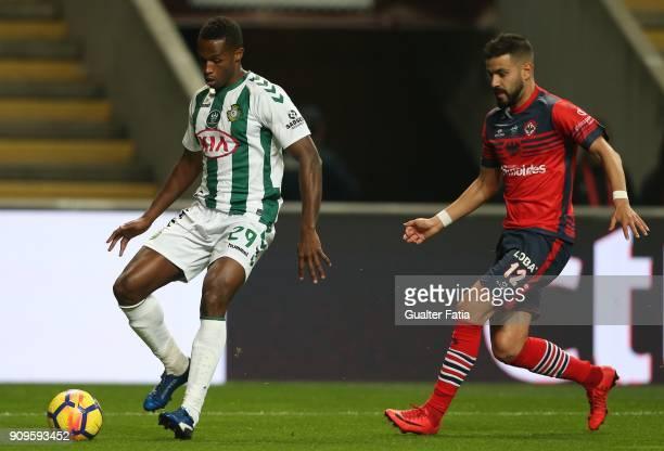 Vitoria Setubal defender Jose Semedo from Portugal with UD Oliveirense midfielder Sergio Ribeiro from Portugal in action during the Taca da Liga Semi...