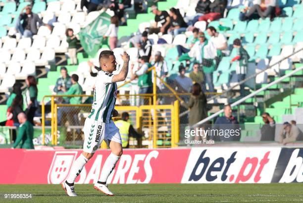 Vitoria Setubal defender Patrick Vieira from Brazil celebrates after scoring a goal during the Primeira Liga match between Vitoria Setubal and Pacos...