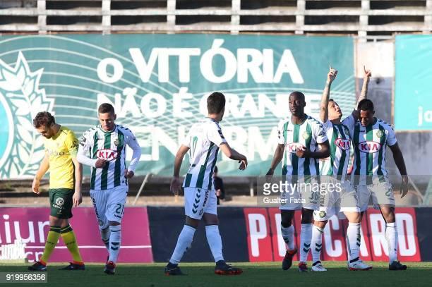 Vitoria Setubal defender Patrick Vieira from Brazil celebrates with teammates after scoring a goal during the Primeira Liga match between Vitoria...