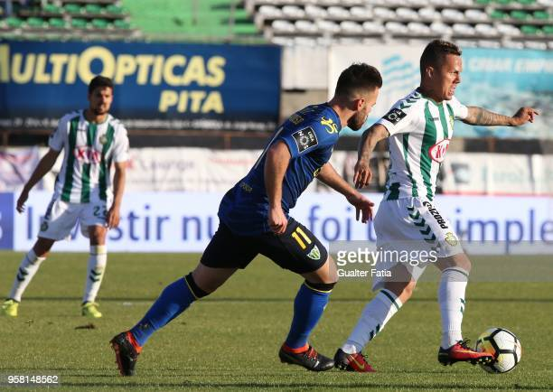 Vitoria Setubal defender Patrick Vieira from Brazil with CD Tondela forward Miguel Cardoso from Portugal in action during the Primeira Liga match...