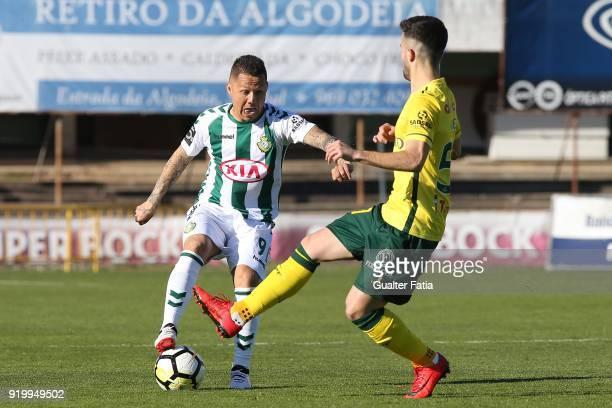 Vitoria Setubal defender Patrick Vieira from Brazil with FC Pacos de Ferreira forward Antonio Xavier from Portugal in action during the Primeira Liga...