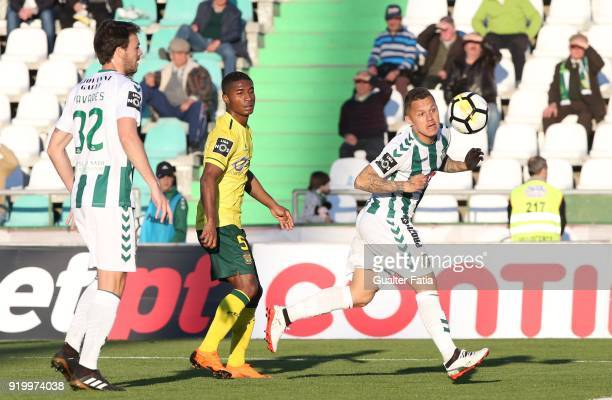 Vitoria Setubal defender Patrick Vieira from Brazil with FC Pacos de Ferreira defender Paulo Henrique from Portugal in action during the Primeira...