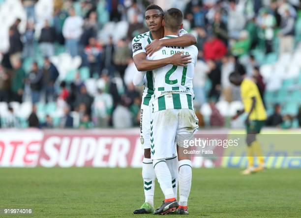 Vitoria Setubal defender Vasco Fernandes from Guinea Bissau celebrates the victory with teammate Vitoria Setubal defender Nuno Pinto from Portugal at...