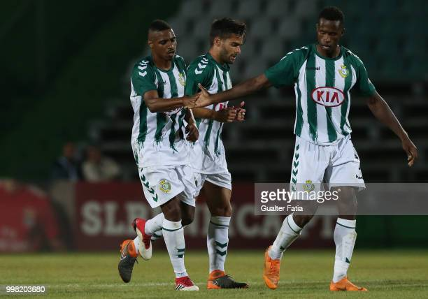 Vitoria Setubal defender Vasco Fernandes from Portugal celebrates with teammates after scoring a goal during the PreSeason Friendly match between SL...