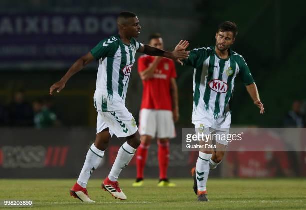 Vitoria Setubal defender Vasco Fernandes from Portugal celebrates with teammate Vitoria Setubal midfielder Nuno Valente from Portugal after scoring a...