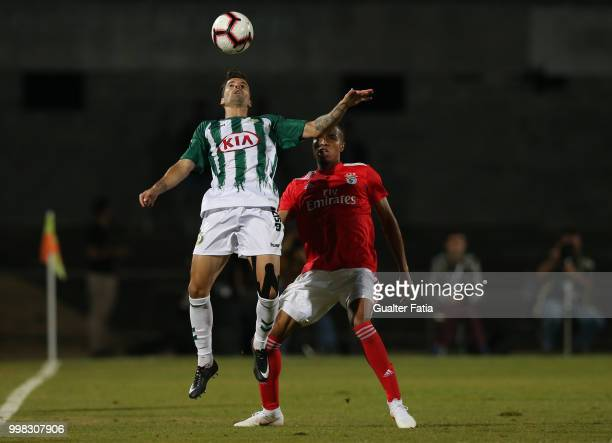 Vitoria Setubal forward Alex Freitas from Portugal with SL Benfica defender Tyronne Ebuehi from Nigeria in action during the PreSeason Friendly match...