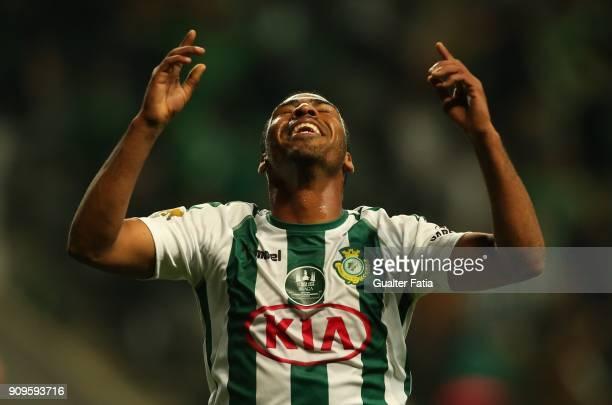 Vitoria Setubal forward Allef from Brazil celebrates after scoring a goal during the Taca da Liga Semi Final match between Vitoria de Setubal and UD...