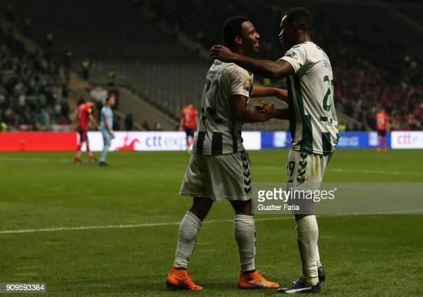 Vitoria Setubal forward Allef from Brazil celebrates with teammate Vitoria Setubal defender Jose Semedo from Portugal after scoring a goal during the...