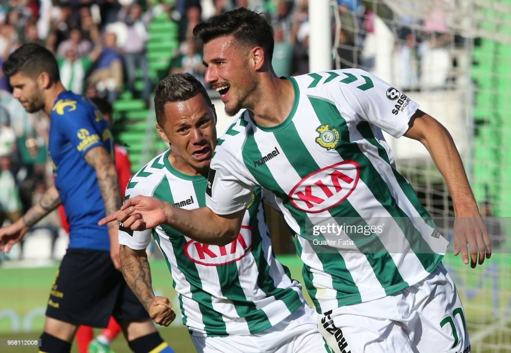 Vitoria Setubal forward Andre Pereira from Portugal celebrates after scoring a goal during the Primeira Liga match between Vitoria Setubal and CD Tondela at Estadio do Bonfim on April 13, 2018 in Setubal, Portugal.