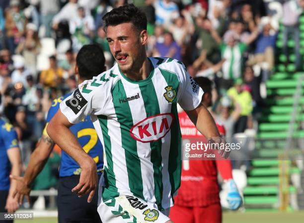 Vitoria Setubal forward Andre Pereira from Portugal celebrates after scoring a goal during the Primeira Liga match between Vitoria Setubal and CD...
