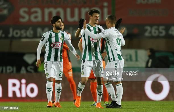 Vitoria Setubal forward Andre Pereira from Portugal celebrates with teammate Vitoria Setubal defender Patrick Vieira from Brazil after scoring a goal...