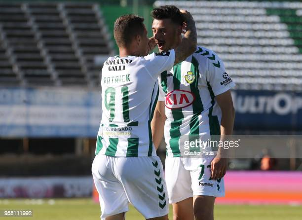 Vitoria Setubal forward Andre Pereira from Portugal celebrates with teammate Vitoria Setubal defender Patrick Vieira from Brazil after scoring a goal...