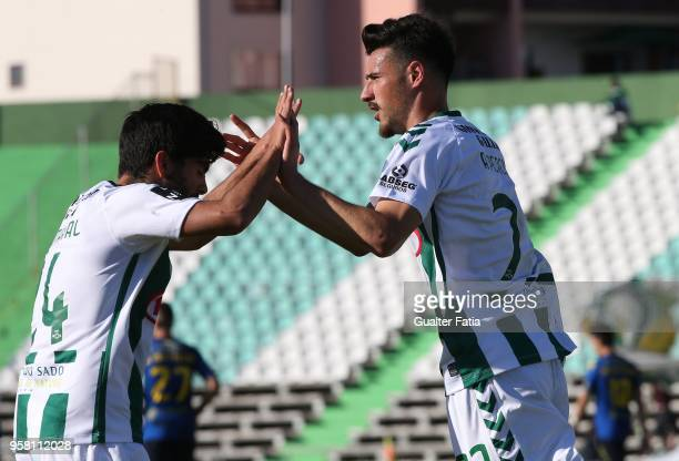 Vitoria Setubal forward Andre Pereira from Portugal celebrates with teammate Vitoria Setubal forward Joao Amaral from Portugal after scoring a goal...