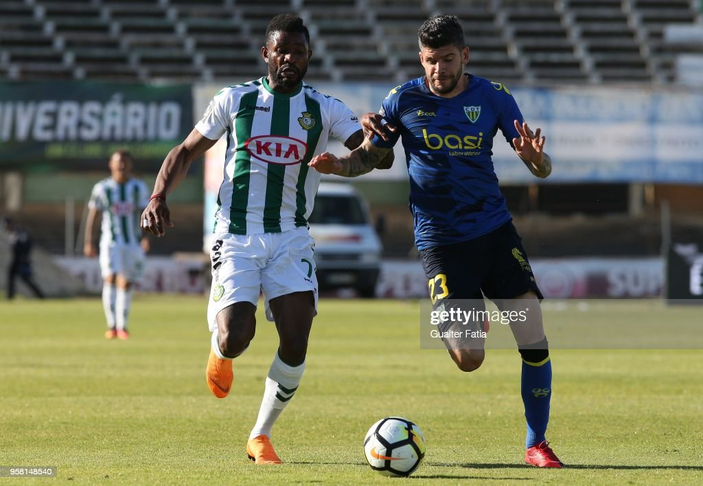 Vitoria Setubal forward Arnold Issoko from Congo with CD Tondela defender Joaozinho from Portugal in action during the Primeira Liga match between Vitoria Setubal and CD Tondela at Estadio do Bonfim on April 13, 2018 in Setubal, Portugal.