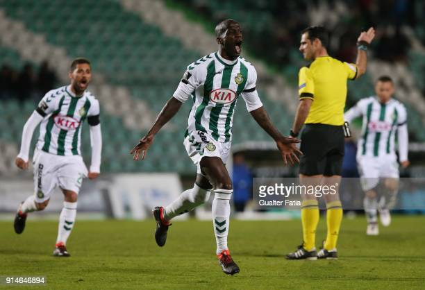 Vitoria Setubal forward Edinho from Portugal celebrates after scoring a goal during the Primeira Liga match between Vitoria Setubal and CF Os...