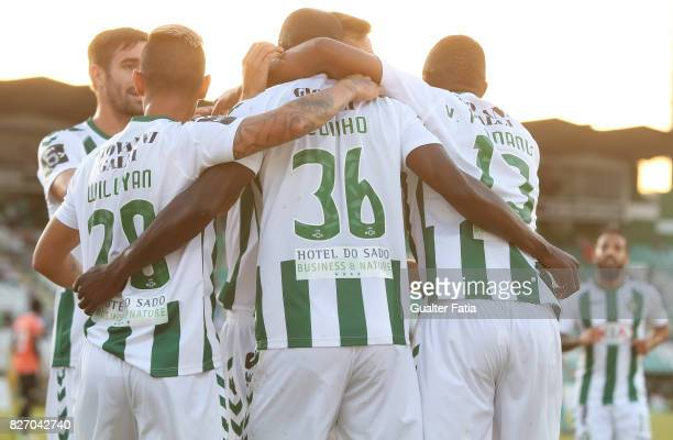 Vitoria Setubal forward Edinho from Portugal celebrates with teammates after scoring a goal during the Primeira Liga match between Vitoria Setubal...