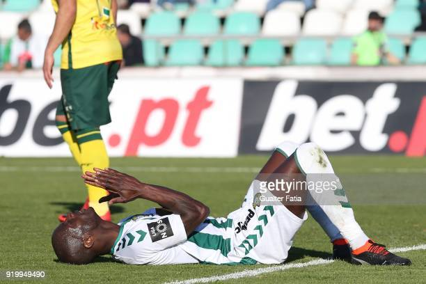 Vitoria Setubal forward Edinho from Portugal reaction after missing a goal opportunity during the Primeira Liga match between Vitoria Setubal and...