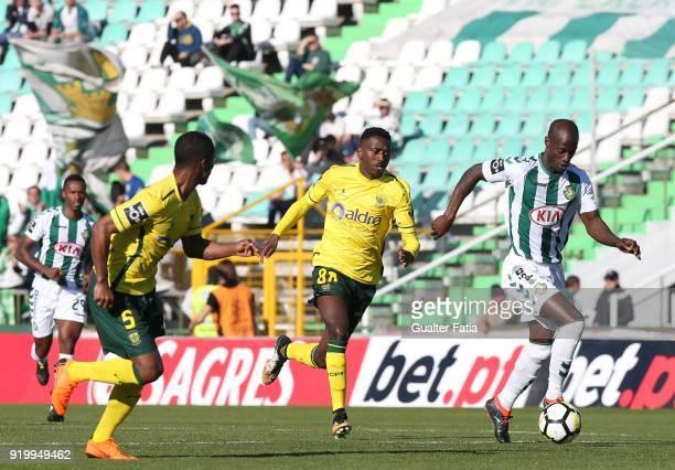 Vitoria Setubal forward Edinho from Portugal with FC Pacos de Ferreira midfielder Gian Martins from Brazil in action during the Primeira Liga match...