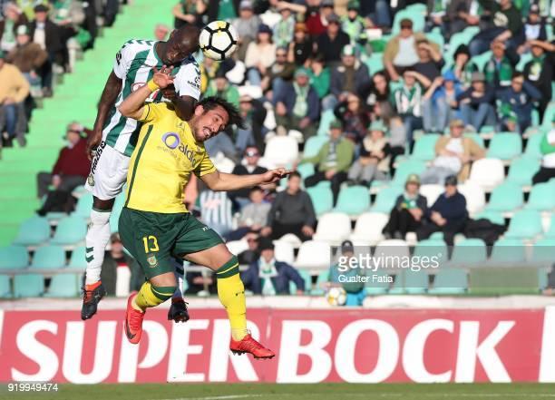 Vitoria Setubal forward Edinho from Portugal with FC Pacos de Ferreira defender Joao Gois from Portugal in action during the Primeira Liga match...