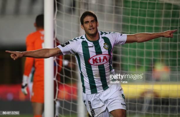 Vitoria Setubal forward Goncalo Paciencia from Portugal celebrates after scoring a goal during the Primeira Liga match between Vitoria Setubal and CS...