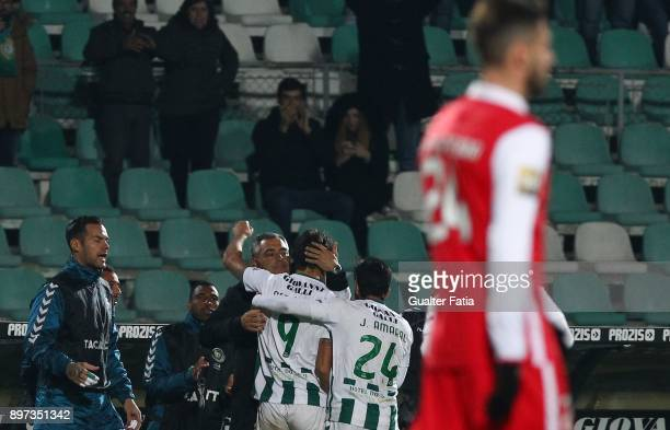 Vitoria Setubal forward Goncalo Paciencia from Portugal celebrates with teammates after scoring a goal during the Portuguese League Cup match between...