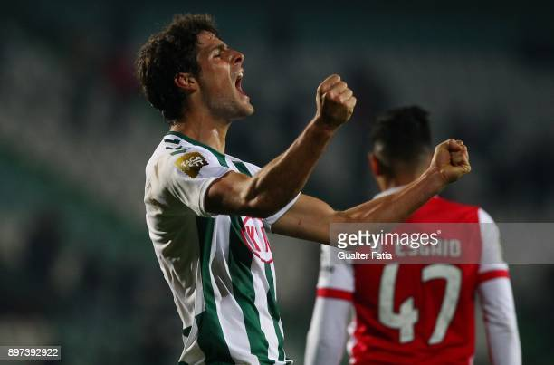 Vitoria Setubal forward Goncalo Paciencia from Portugal celebrates the victory and the qualification for the Final Four of the Portuguese League Cup...
