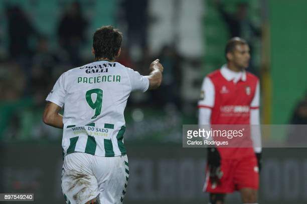 Vitoria Setubal forward Goncalo Paciencia from Portugal celebrates after scoring a goal during the match between Vitoria de Setubal FC and SC Braga...
