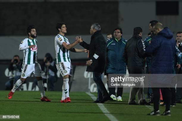 Vitoria Setubal forward Goncalo Paciencia from Portugal celebrates after scoring Setubal second goal with Vitoria Setubal head coach Jose Couceiro...