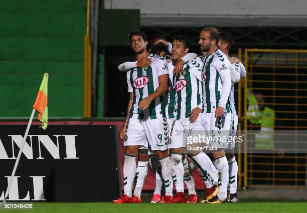 Vitoria Setubal forward Goncalo Paciencia from Portugal celebrates with teammates after scoring a goal during the Primeira Liga match between Vitoria...