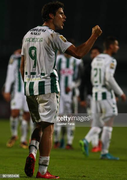 Vitoria Setubal forward Goncalo Paciencia from Portugal celebrates the victory an qualification for the final four of the Portuguese League Cup at...