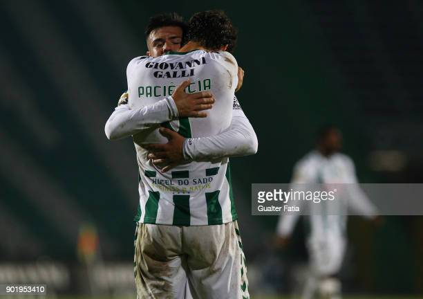 Vitoria Setubal forward Goncalo Paciencia from Portugal celebrates the victory an qualification for the final four of the Portuguese League Cup with...
