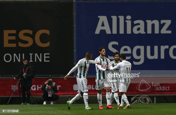 Vitoria Setubal forward Goncalo Paciencia from Portugal celebrates with teammates after scoring a goal during the Portuguese League Cup Final match...