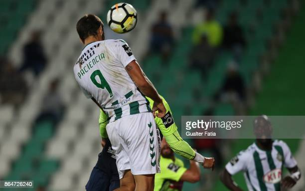 Vitoria Setubal forward Goncalo Paciencia from Portugal scores goal during the Primeira Liga match between Vitoria Setubal and CS Maritimo at Estadio...