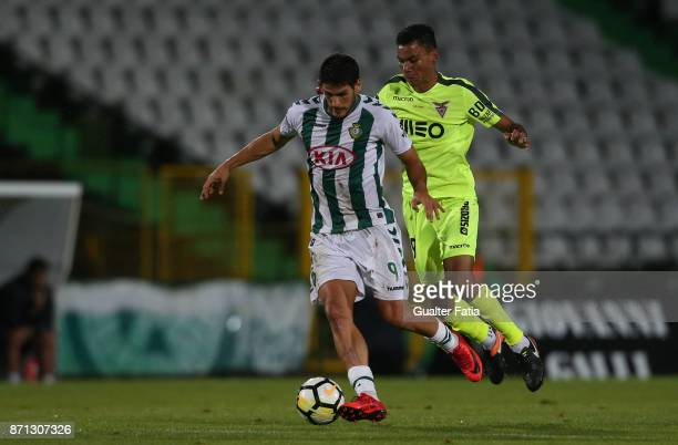 Vitoria Setubal forward Goncalo Paciencia from Portugal with CD Aves midfielder Claudio Falcao from Brazil in action during the Primeira Liga match...