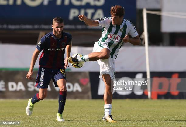Vitoria Setubal forward Goncalo Paciencia from Portugal with GD Chaves defender Domingos Duarte from Portugal in action during the Primeira Liga...