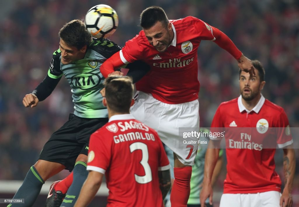 Vitoria Setubal forward Goncalo Paciencia from Portugal with SL Benfica midfielder Andreas Samaris from Greece in action during the Portuguese Cup match between SL Benfica and Vitoria Setubal at Estadio da Luz on November 18, 2017 in Lisbon, Portugal.