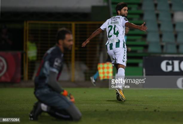 Vitoria Setubal forward Joao Amaral celebrates after scoring a goal during the Primeira Liga match between Vitoria Setubal and Boavista FC at Estadio...