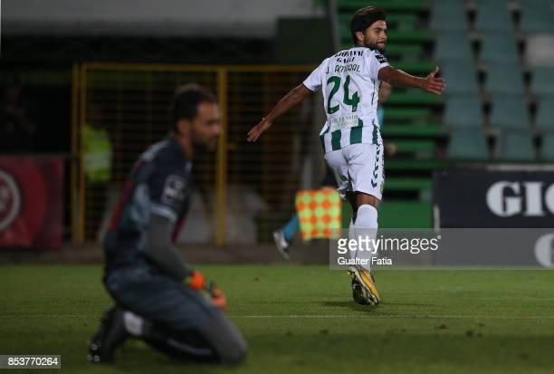 Vitoria Setubal forward Joao Amaral celebrates after scoring a goal during the Primeira Liga match between Vitoria Setubal and Boavista FC at Estadio...
