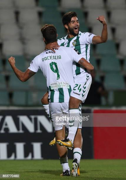 Vitoria Setubal forward Joao Amaral celebrates with teammate Vitoria Setubal forward Goncalo Paciencia after scoring a goal during the Primeira Liga...