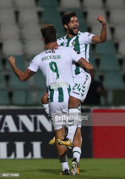 Vitoria Setubal forward Joao Amaral celebrates with teammate Vitoria Setubal forward Goncalo Paciencia after scoring a goal during the Primeira Liga...